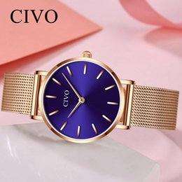 $enCountryForm.capitalKeyWord Australia - CIVO Ultra Thin Clock Waterproof Rose Gold Mesh Steel Wristwatches Womens Watches Montre Femme Small Fashion Casual Women Watch