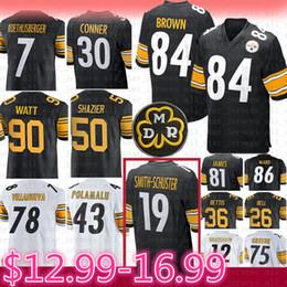90 T.J. Watt 84 Antonio Brown Trikot Pittsburgh 19 Steelers Juju Smith-Schuster 50 Shazier Roethlisberger Bettis Conner Polamalu Villanueva