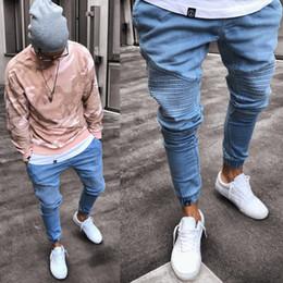 Discount high waist destroyed jeans - 2019 Men's Stretchy Ripped Skinny Biker Jeans Destroyed Slim Fit Denim Pants Mens Elastic Waist Harem Pants Men Jog