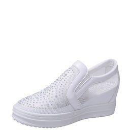 7b72d1da8d8b Breathable Mesh White Wedge Sneaker High Platform Height Increased Hidden  Shoes 2019 Summer Korean Version Wild Casual Thick Sole Net Shoes