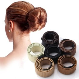 Donut Buns For Hair Australia - M MISM Girls 21.5cm French Hair Donut Bun Maker Styling Hair Fold Wrap Snap Accessories for Women Curler Quick Dish Headbands
