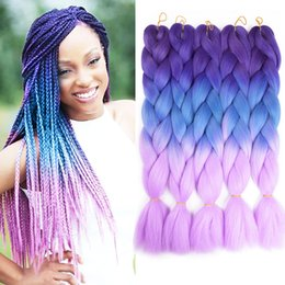 Wholesale Xpression Braiding Hair Three Two Color Mixed Box Braids Coloridas Crochet Hair Extensions g pack Kanekalon Braiding Hair
