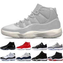 plastic army men UK - 11 11s Cap and Gown Prom Night Men Basketball Shoes Platinum Tint Gym Red Bred PRM Heiress Barons Concord University Blue mens sport sneaker