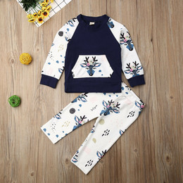 deer baby clothes boy Australia - 2019 Brand Toddler Baby Boys Girls Tops Deer Pants Sweater Autumn Winter Outfits Autumn Baby Clothes Animal Print Tracksuit Set