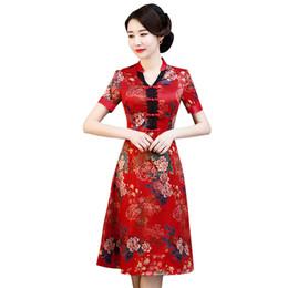 6527c4e80c Red New Summer Cheongsam Elegant Women' s Handmade Button Dress Short  Sleeve Knee Length Sexy Short Dress Plus Size M-XXXXL