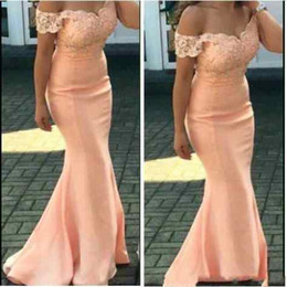 $enCountryForm.capitalKeyWord Australia - New Cheap Peach Plus Size Mermaid Bridesmaid Dresses Off Shoulder Lace Appliques Sweep Train Wedding Guest Dress Formal Maid Of Honor Gowns