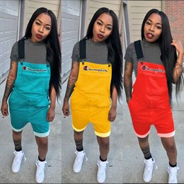 bd6bb38b09 Women Champion Letter Overall Shorts Solid Color Jumpsuit Suspender Pants  Straps shorts Overalls Summer Romper Brace Trousers S-2xl A4802