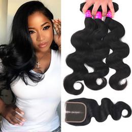 Discount brazilian loose body wave - 9A Indian Virgin Hair 3 Bundles With Closure Body Deep Loose Wave Unprocessed Human Hair Weave Bundles With 4x4 Lace Clo