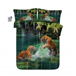 3d animal comforter bedding sets Canada - 150x200CM 3D green two tigers bedding sets animal duvet cover silver green bedspreads comforter cover Quilt Covers for adults teens boys men