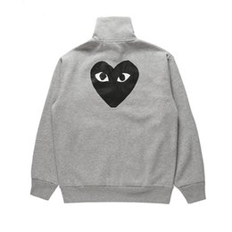 red white heart cotton Australia - Mens Designer Jackets CDG PLAY COMMES Heart Sweater Women OFF Cotton Classic Love Hooded DES GARCONS Zipper Jacket Red Heart Lovers WHITE