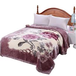 Super Doux Fluffy Mink Couverture Hiver Chunky Raschel Couverture Double Couche Reine King Taille Cobertor Dropshipping Floral Blankets en Solde
