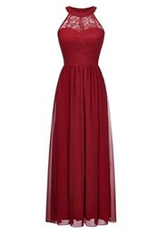 Halter Coral Chiffon Bridesmaid Dresses UK - New Arrival Halter Beach Chiffon Women's Lace and Chiffon Bridesmaid Dress Long Party Gown Sexy Custom Made Bridesmaid Gowns