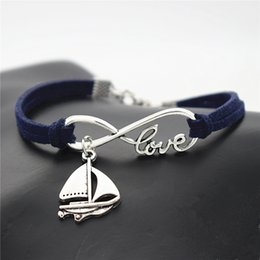 braided rope bracelets men NZ - Vintage Dark Navy Leather Rope Bracelet for Men Infinity Love Sailing Ship Sail Boat Sailboat Amulet Handmade Rope Braided Wrap Jewelry Gift