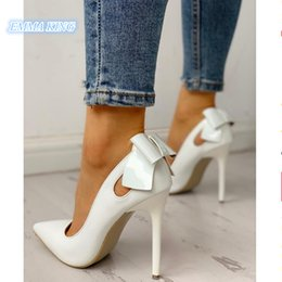 Discount stylish lady shoes heel - Pointed Toe Bow Knot Stylish Women Pumps Spring Autumn Cutout Design Stilettos Ladies Party Shoes Slip-On Roman High Hee