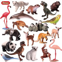 miniatures figures NZ - heap Action & Toy Figures Oenux Cute Animals Tiger Model Action Figure Birds Dog Figurines Sea Life Animals Dolphins Miniature Collec...