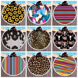Wholesale Sunflower Round Beach Towel Floral Leopard Beach Cover Summer Cow Print Beach Blanket Tassel Striped Circle Towels GGA1988