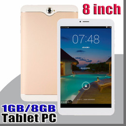 wholesale quad core android tablets Australia - 8 inch Dual SIM 3G Tablet PC IPS Screen MTK6582 Quad Core 1GB 8GB Android 4.4 Phablet