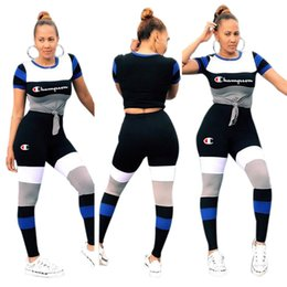 Women strip t shirts online shopping - strip Splicing Champions Letter Women Sports Suit Fashion Striped T shirt Top tees Pants Piece Set Tracksuit Casual Outfit BEST C3215