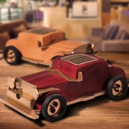Wood For Subwoofer Box NZ - 2019 New wooden retro vintage old car AS60 Bluetooth speaker wireless mini sound box for children lovers