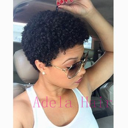 Discount curling for short hair - Unprocessed Peruvian Curly Human Hair Wigs Short Cut Kinky Curly Wig Afro Full Wigs For Black Women Human Hair Jerry Cur