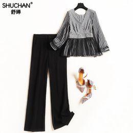 Quarter Suits Australia - Shuchan FASHION WOMEN'S SUIT V-neck top patchwork mesh Three Quarter sleeve+ Full Length pants Conjunto Feminino 50364