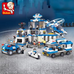 Build Toy Helicopter Australia - Sluban B0193 Police SWAT Helicopter Car Headquarter Centre 3D Model DIY Building Blocks Bricks Assembly Toy fit Legoings no Box