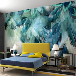 art paper sizes Australia - Custom Any Size 3D Nordic Minimalism Blue Feather Mural Modern Abstract Art Wallpaper Wall Fresco Living Room Bedroom Wall Paper