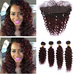 burgundy wavy hair 2019 - #1B 99J Wine Red Ombre Deep Wave Brazilian Human Hair Weaves with Frontal 4Bundles Burgundy Ombre Deep Wavy Weaves with