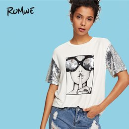 Figures Australia - Romwe Sequin Sleeve Figure Print Tee 2019 White Summer Short Sleeve Women T-shirt Stylish Females Round Neck TopsY19042002