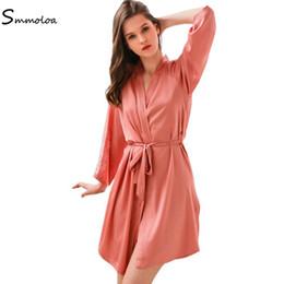$enCountryForm.capitalKeyWord NZ - Smmoloa New Silk Kimono Robe Bathrobe Women Silk Bridesmaid Robe Lace Hollow Out New