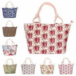 Large canvas fLoraL tote bags online shopping - Women Floral Printing Canvas Bag Casual large capacity Single Shoulder Tote Stylish Solid Printed Handbag LJJP192