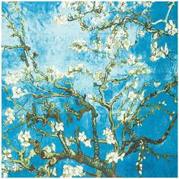 $enCountryForm.capitalKeyWord Australia - Van Gogh Oil Painting Square Scarf Apricot Flower 2019 New Brand Women Winter Silk Scarf,Twill Print Turban Headband Large
