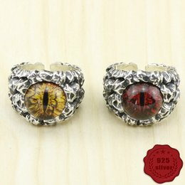 punk rings NZ - 925 sterling silver couple ring retro fashion punk style domineering eye texture hip-hop style 2018 new hot sale