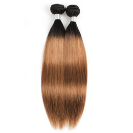 Two bundles hair weaving online shopping - 8A Brazilian Virgin Straight Hair Weave Bundles Ombre Brown Color B Two Tone Bundle inch Peruvian Remy Human Hair Extensions