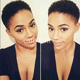 Tight Kinky Hair Australia - Brazilian hair Tight Afro Kinky Curly Rihana Style brazilian hair wigs Short Human Hair Wigs For Black