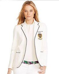 $enCountryForm.capitalKeyWord Australia - Deluxe Spring Autumn Women Polo Jacket Blazer All England Club Tennis Jackets for Ladies Long Sleeve Girls Solid Coats White