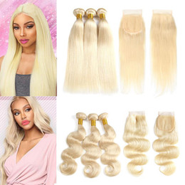 $enCountryForm.capitalKeyWord Australia - Raw Brazilian Virgin Hair 613 Blonde 3 Bundles with Lace Closure Straight Body Wave Colored Ombre Human Hair Bundles with Closures