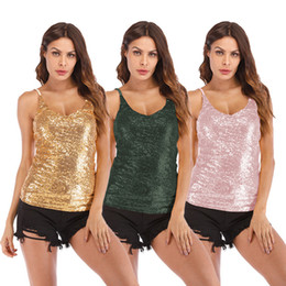 b23d5d1914b2ec Plus Size Bling Sequins Vest Tops Women Blouse Fashion Summer Girl Camis  Sexy Tops Slim Fit Slip Golden Club Streetwear