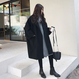 ladies woolen clothes 2019 - Women Long-sleeved Autumn Winter Clothes Solid Color Mid-length Lapel Ladies Coat Loose Woolen Casual Elegant Female Clo