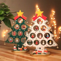 tree tables 2019 - DIY Christmas Ornament Wooden Christmas Tree Hanging Ornament Gift for Children Home Xmas Tree Table Decoration cheap tr
