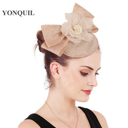 $enCountryForm.capitalKeyWord Australia - Gorgeous champagne female hats fascinators with floral nice millinery women event wedding bow fascinator headbands accessories free shipping