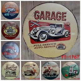 Gold platinG home online shopping - 30X30CM round plates antique retro metal tin signs car garage scooter motorcycle Iron painting poster vintage home wall plaque SH190918
