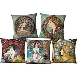 Discount car sofa couch - 18*18 Inch Pillow Case European Art Mucha Decorative Pillow Digital Printed Linen Couch Bedding Sofa Throw Cushion Cover