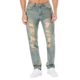 Wholesale Ripped Jeans UK - Men's Younger-Looking Fashionable Super Comfort Straight-Fit Jean Skinny Slim Fit Ripped Distressed Stretch Jeans Pants 4Colors