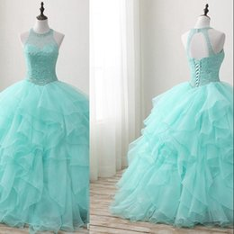 $enCountryForm.capitalKeyWord NZ - Mint Green Beaded Quinceanera Dresses 2019 New Real Images Crew Neck Tulle Ruffles Sweet 16 Dresses Princess Dress Custom Made LM004