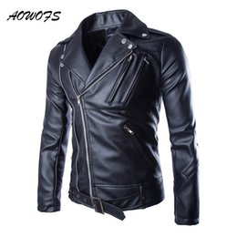 Korean Motorcycle Jacket Australia - AOWOFS Mens Leather Jackets Classic Motorcycle Jacket Men Turn Down Collar Slim Fit Korean Leather Biker Jacket Short Length