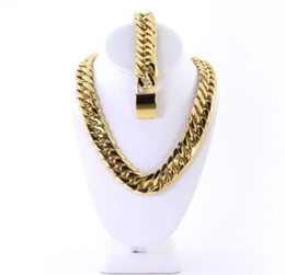 mens necklaces bracelets sets UK - Mens Large Thick 14K Gold Plated Miami Cuban Chain And Bracelet Set 18mm JayZ
