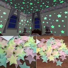 3d Wall Star Stickers Australia - 50Pcs Glow In The Dark 3D Star Wall Stickers Luminous Fluorescent Wall Stickers For Kids Baby Room Bedroom Ceiling Home Decor