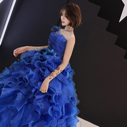 $enCountryForm.capitalKeyWord Australia - Color yarn wedding Student Art exam dress stage fluffy skirt annual meeting host dress long Costume woman