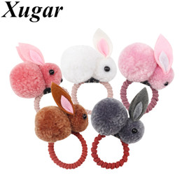 Gum Hair Australia - Xugar Hair Accessories Hair Bands for Girls Felt Three-Dimensional Plush Rabbits Scrunchies Rubber Bands Kids Cute Gum for